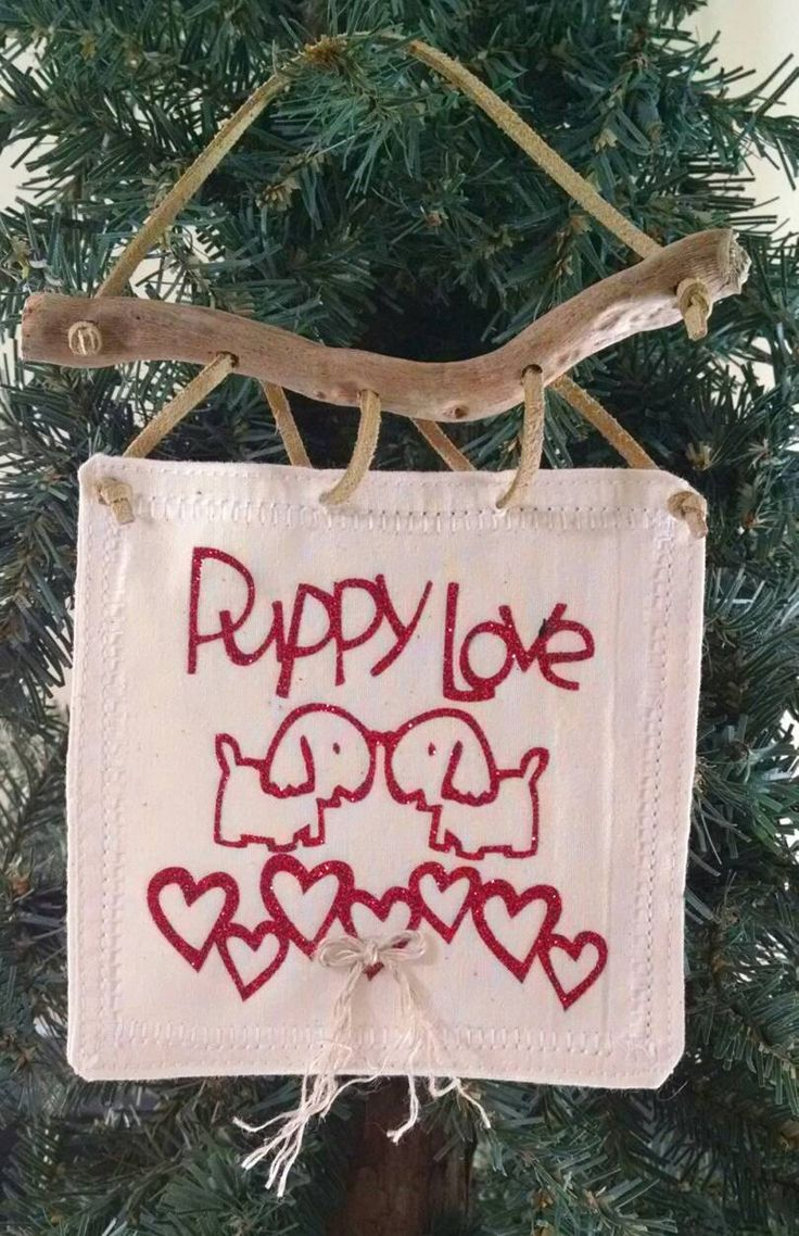 Puppy Love Tiny Wall Art, Wall Hanging, Boho Art,  Southwestern Wall Decor, Driftwood Art, Valentine's Decorations, Heart Ornament, by TheDriftingStones on Etsy