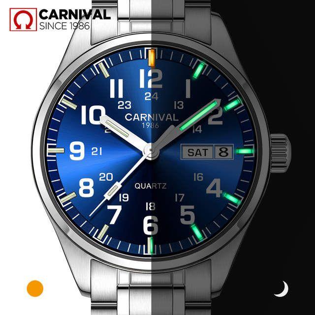 Carnaval Deportes T25 Tritio Luminosa Hombres Reloj De Cuarzo De Marca De Lujo De Acero Relojes Hombres Relo Relojes De Lujo Para Hombres Reloj Reloj De Cuarzo