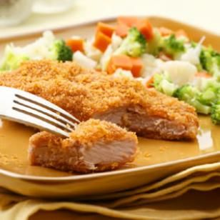 Golden Baked Pork Cutlets  These quick breaded pork cutlets made with just a few ingredients are so delicious everyone will be wishing they helped make them. Cutting the super-low-fat pork tenderloin into long fillets makes it quick-cooking. Serve with a medley of steamed vegetables and a side of mashed potatoes for a taste of nostalgia.