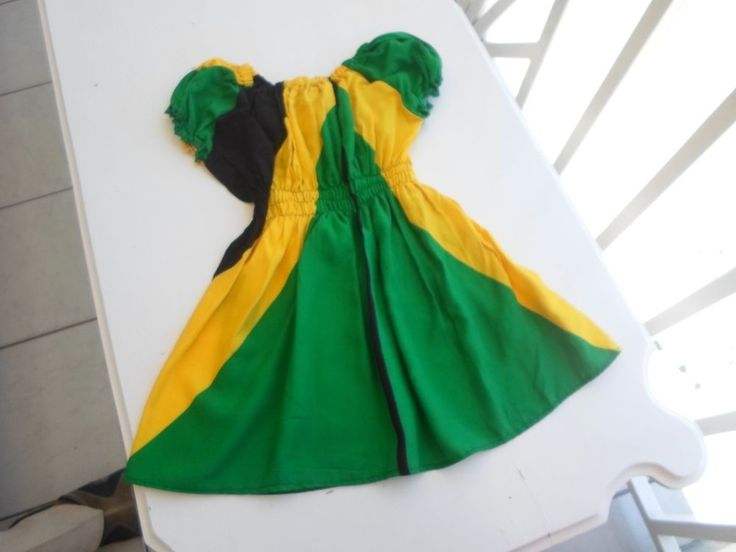 Kiddie's Dress Jamaican Flag Print 100% Cotton age 4 - 6  Sleeveless Handmade