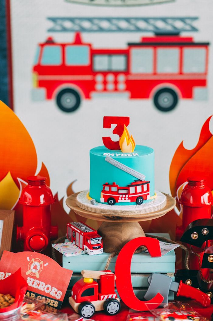 3rd Birthday cake from Rustic Firefighter Birthday Party at Kara's Party Ideas.