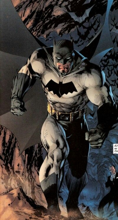 THE BATMAN •Jim Lee  My favorite batman image ever - planning to have it as a tattoo on my calf one day