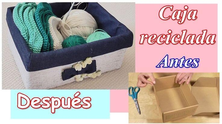 Cómo decorar una caja de cartón reciclada con cuerda y tela. Día de la M...