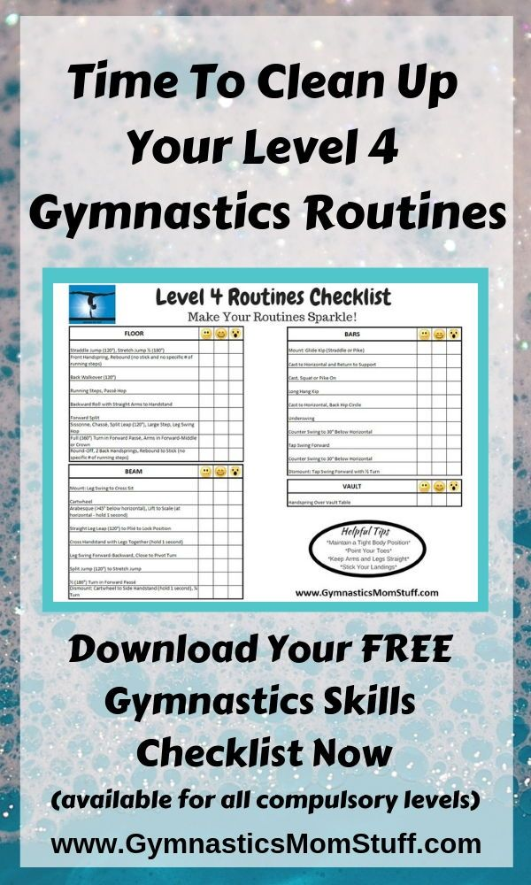 Are Your Level 4 Gymnastics Routines Ready For A Little Clean Up These Gymnastics Skills Checklists Will Help Gymnastics Skills Gymnastics Routines Gymnastics