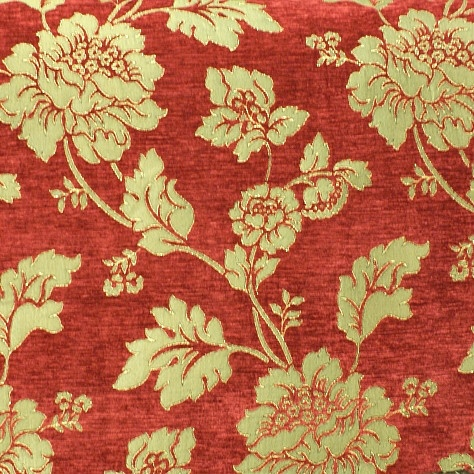 Italian Floral Red Chenille Amp Jacquard Designer Curtain