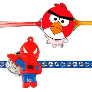 Kids Rakhi - Set of 2: Surprise your dear brother with his most favorite gaming characters - Angry Birds & Spider Man rakhi. Costs Rs 419/- http://www.tajonline.com/rakhi-gifts/product/rdr68/kids-rakhi-set-of-2/?aff=pinterest2013/