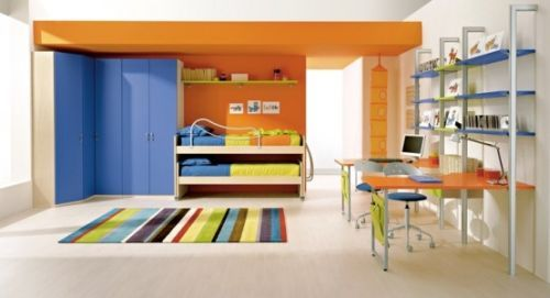 Orange and blue with striped rug