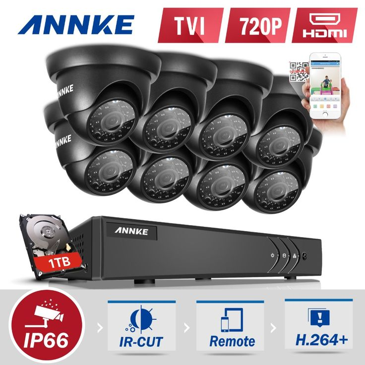 ANNKE 8CH HD TVI 1080P CCTV Security System DVR and (8) 720P Outdoor Waterproof Video Suveillance kit CCTV Cameras 1TB HDD #Affiliate