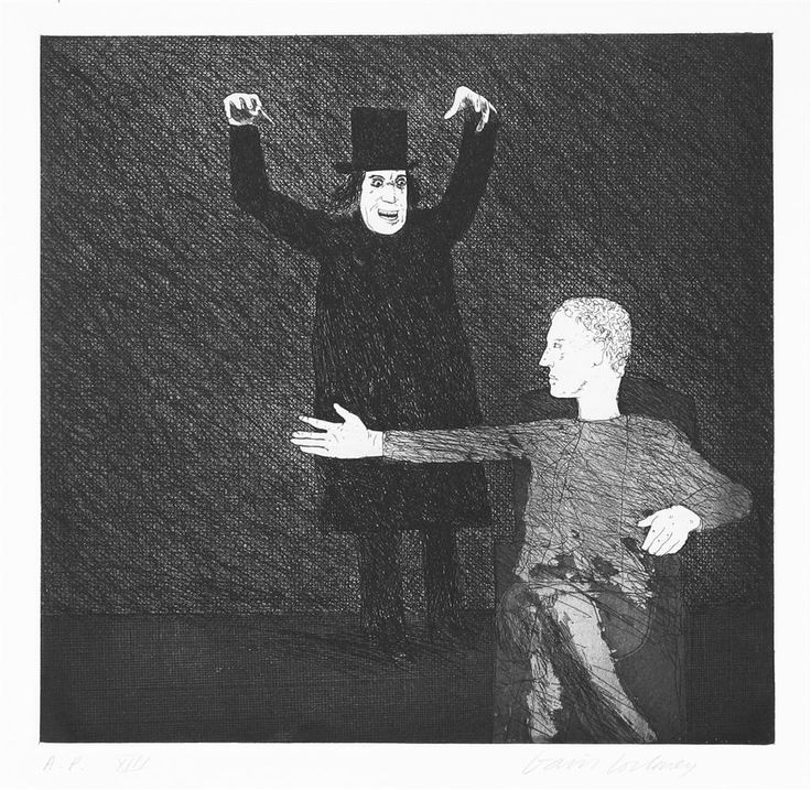 David Hockney etching.  Inside-The-Castle-from-The-Boy-Who-Set-Out-to-Learn-Fear
