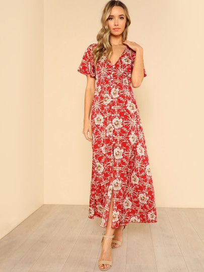 61114be337fb Button Up Shirred Waist Floral Maxi Dress -SheIn(Sheinside ...