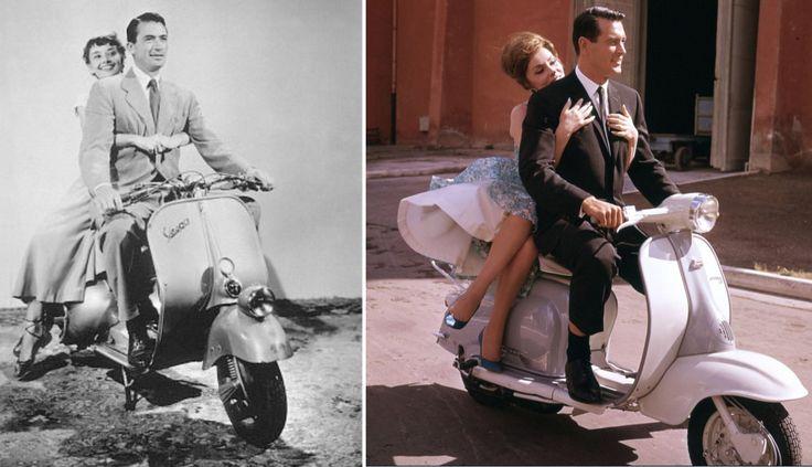 """Gregory Peck Vs Rock Hudson A la izquierda, Gregory Peck y Audrey Hepburn en """"Vacaciones en Roma"""" (Roman Holiday).1953. Diseño de vestuario: Edith Head A la derecha, Rock Hudson y Gina Lollobrigida en """"Cuando llegue septiembre"""" (Come September) .1961. Vestuario: Morton Haack"""