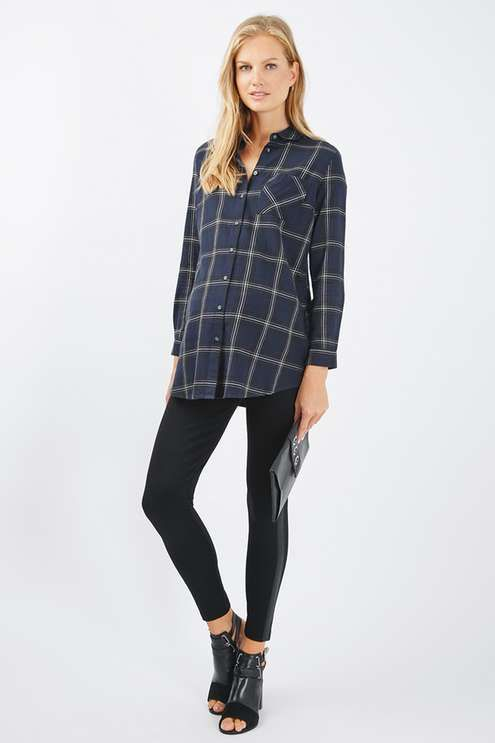 Opt for comfort balanced with style in this cool casual check shirt for Topshop Maternity. In a long line and loose fit, this shirt also comes with a button down placket and structured collar #Topshop