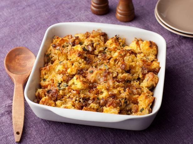 Tyler's Caramelized Onion and Cornbread Stuffing : Tyler uses sweet corn muffins to make this stuffing, mixing it with caramelized onions and fresh sage.