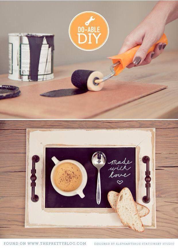 vassoio-caffè-effetto-lavagna Vecchia cornice e maniglie