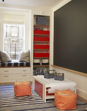 chalkboard wall in kids playroom.