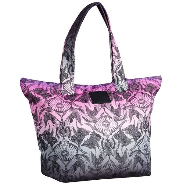 PB Teen Anna Sui Purple Butterfly Tote ($40) ❤ liked on Polyvore featuring bags, handbags, tote bags, zippered travel tote, travel tote, handbags totes, nylon zip tote and purple tote