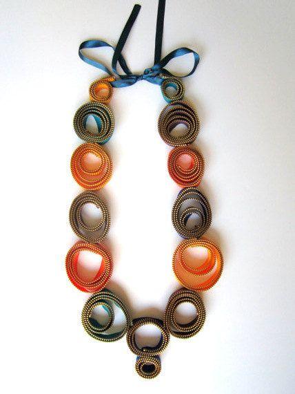 Textile Zipper Necklace Oversize Statement Colors Handmade Long Necklace - Rainbow Hoops