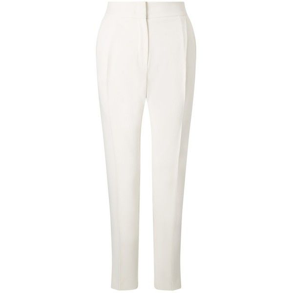 Marella Nevada Trousers (€155) ❤ liked on Polyvore featuring pants, white, tailored trousers, slim fitted pants, white cigarette trousers, creased pants and patterned pants