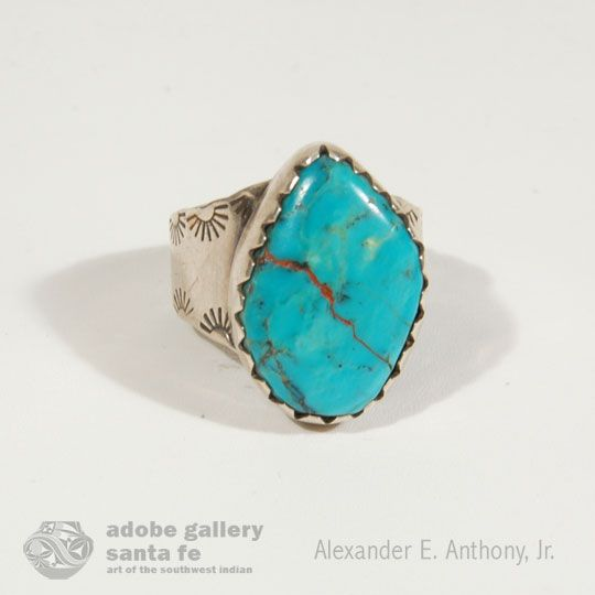 Navajo Silver and Turquoise Wide Band Ring - C3864.38 #adobegallery #SouthwestIndianJewelry #NavajoJewelry #Navajo #Ring #Jewelry #SantaFeNM