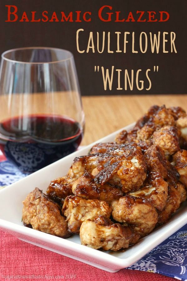 """Balsamic Glazed Cauliflower """"Wings"""" is a sticky sweet and savory vegetarian appetizer that even the meat-eaters will love. My best and most popular recipe of 2014! 