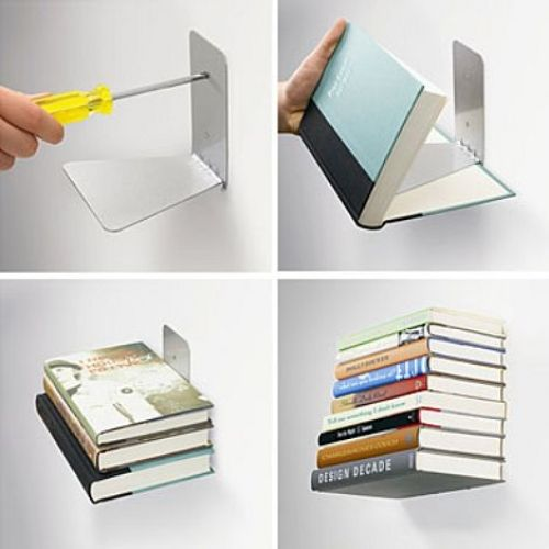 Conceal Bookshelf by Miron Lior, Umbra: A small hook supports the cover of the first book to create the illusion of a column of books suspended in the air.  #Bookshelf