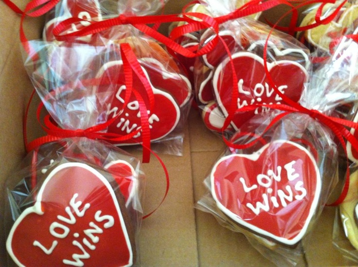 Love Wins cookies for valentines day.  Chocolate and plain sugar cookie.