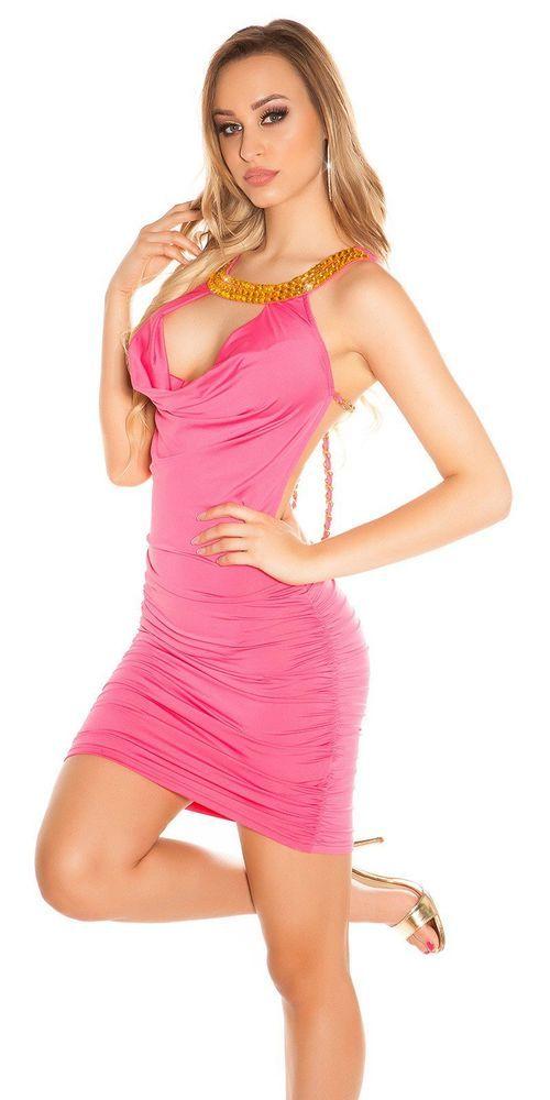 KOUCLA Mini Abito Bustier vestitino donna Sexy Dress Tubino Fucsia collo  strass 453a452240d
