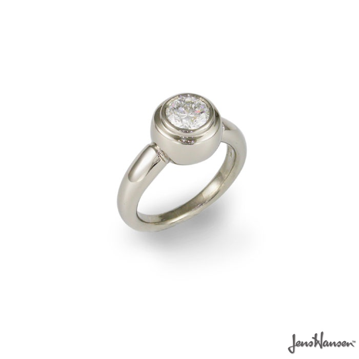 Jens Hansen  IDEAL. 18ct white gold and .75 - 1 carat round brilliant, ideal cut diamond. Approx price $9899