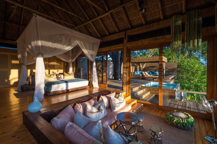 "Seven Stunning African Resorts to Add to Your Bucket List - via Viva Lifestyle & Travel. ""Situated in the center of Botswana's wildlife, Vumbura Plains Camp is a luxury lodge that allows travellers to view Africa's most incredible animals .... With a contemporary design featuring outdoor lounge areas, a private pool and a campfire deck, you'll get to enjoy every minute of the outdoors."""