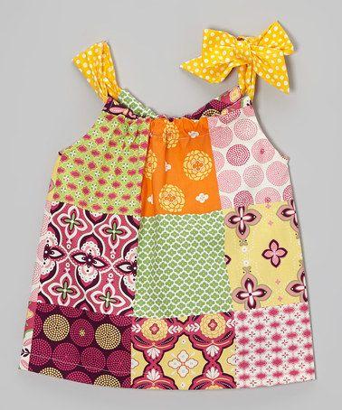 Look at this #zulilyfind! Yellow & Pink Patchwork Bow Swing Top - Toddler & Girls #zulilyfinds