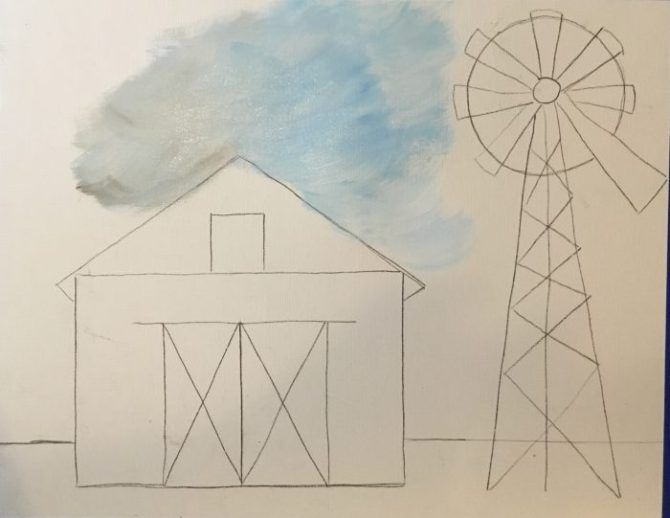 How To Paint A Fall Barn Step By Step Painting Barn Drawing Easy Canvas Painting