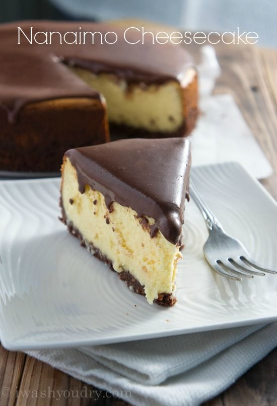 Nanaimo Cheesecake with a ganache topping and graham cracker crust.  Based on Canadian Nanaimo Bars.