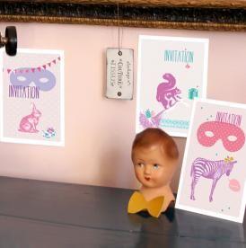 Cartes invitations pour anniversaires des enfants. 7,5€ le lot de 9 cartes. www.barnabeaimelecafe.com