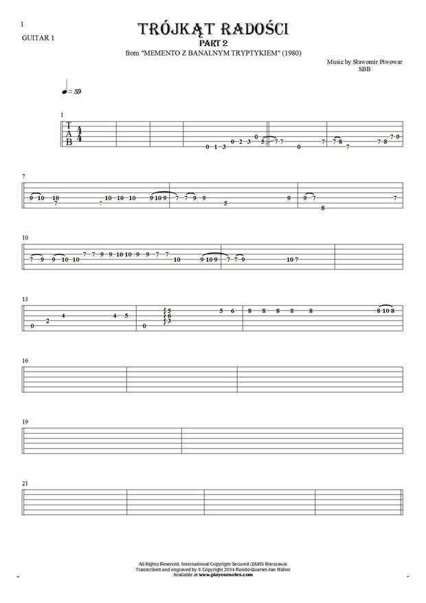 Trójkąt radości - SBB. From album Memento z banalnym tryptykiem (1980). Part: Tablature for guitar - guitar 1 part