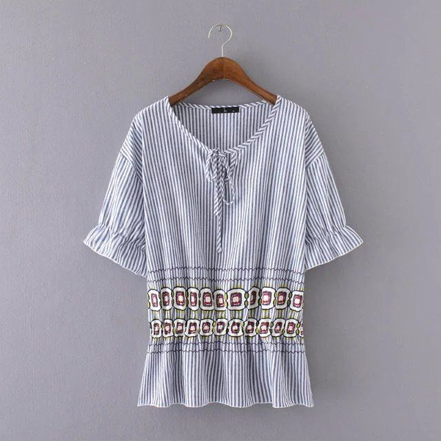 3XL women summer T-shirts2016 strip plaid printed cotton plus size T-shirt  european casual vintage elastic waist big t-shirt19