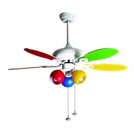 Colore de Purline by Klassfan multicolore un ventilateur pour chambre d'enfant.