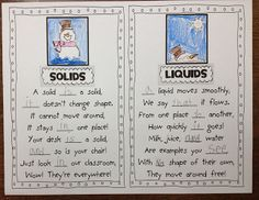 Solids and Liquids Poems - great for work with snow and awesome sight word practice! One more one for the board - truev.co.uk, the best e-liquid