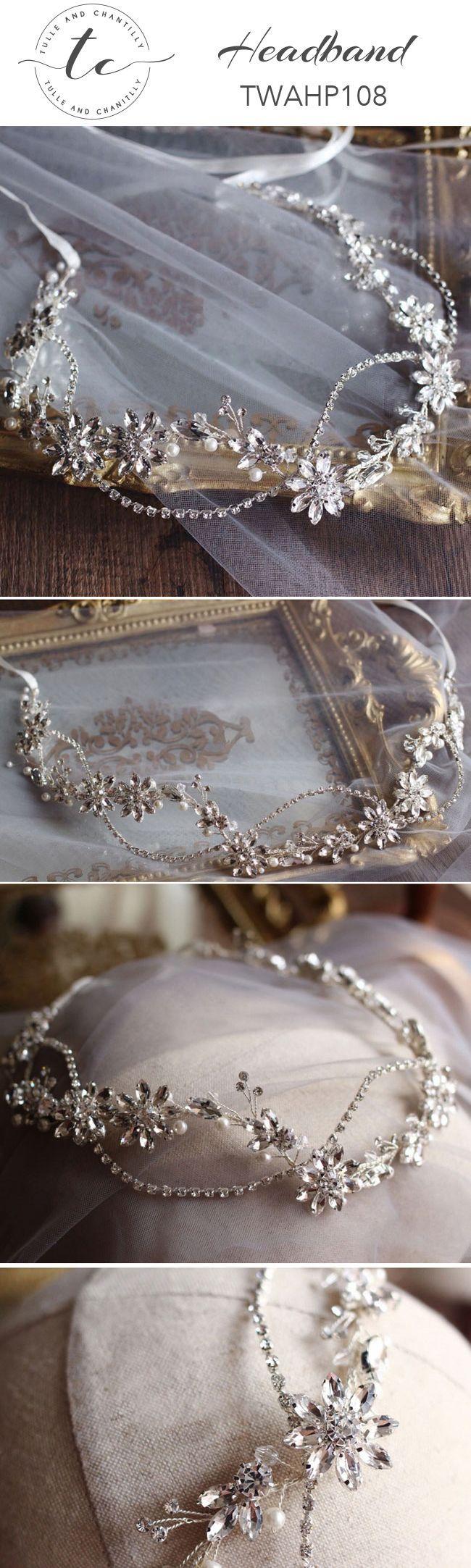 Headband   Crystals Bridal Crown Prom Flower Silver