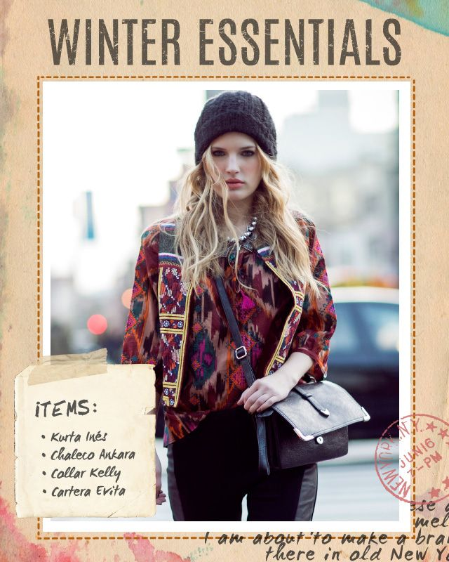 Kurta Inés / Chaleco Ankara / Collar Kelly / Cartera Evita #winteressentials #indiastyle