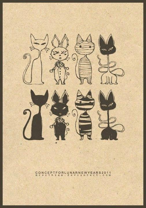 线条也疯狂,How to Draw , Study Resources for Art Students , CAPI ::: Create Art Portfolio Ideas at milliande.com, Art School Portfolio Work ,Whimsical, Cute, Kawaii, Cats,Feline