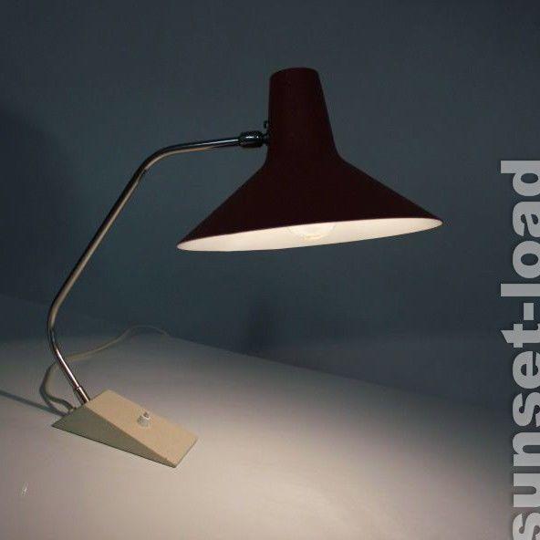 rote 50er Jahre Lampe alte Arbeits Schreib Tisch Leuchte, vintage & alt