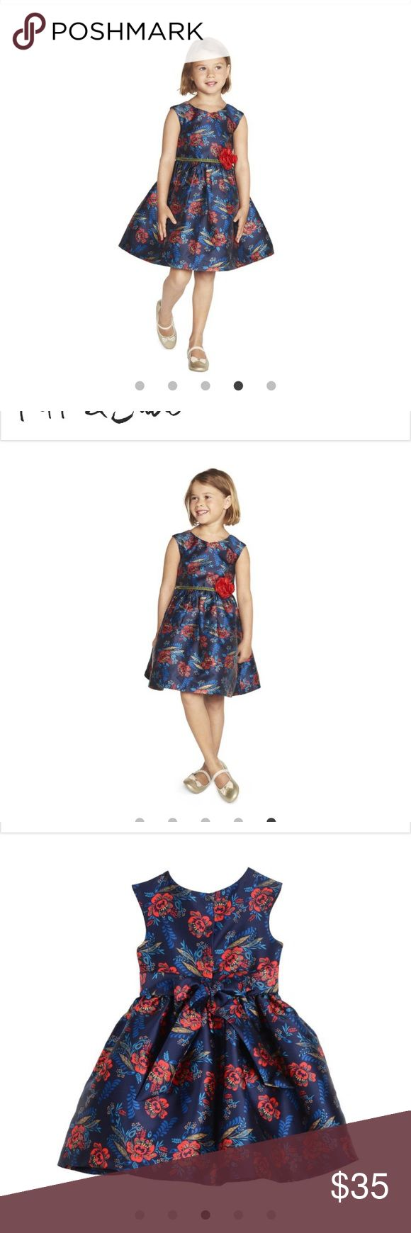 Pippa and Julie Toddler Dress Used once for pictures like new except with our tags-This faille dress features striking shades of red and blue in a crisp floral pattern, and has a fitted cap sleeve bodice with slightly flared skirt. A velvet ribbon trims the waist for rich texture, finished with a bright red fabric rose at the waist for the finishing touch. Pippa & Julie Dresses Formal
