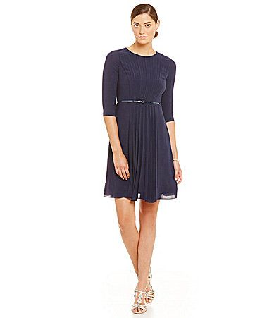 Adrianna Papell Petite Belted PleatFront Crepe Dress #Dillards