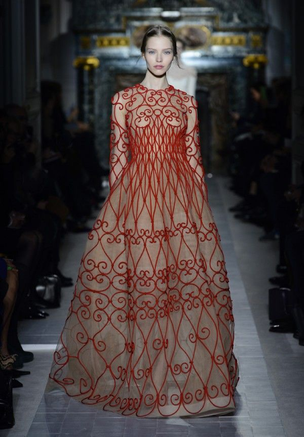 Valentino Couture Cueillons la Rose crepe de chine dress with embroidered  tulle ferronnerie