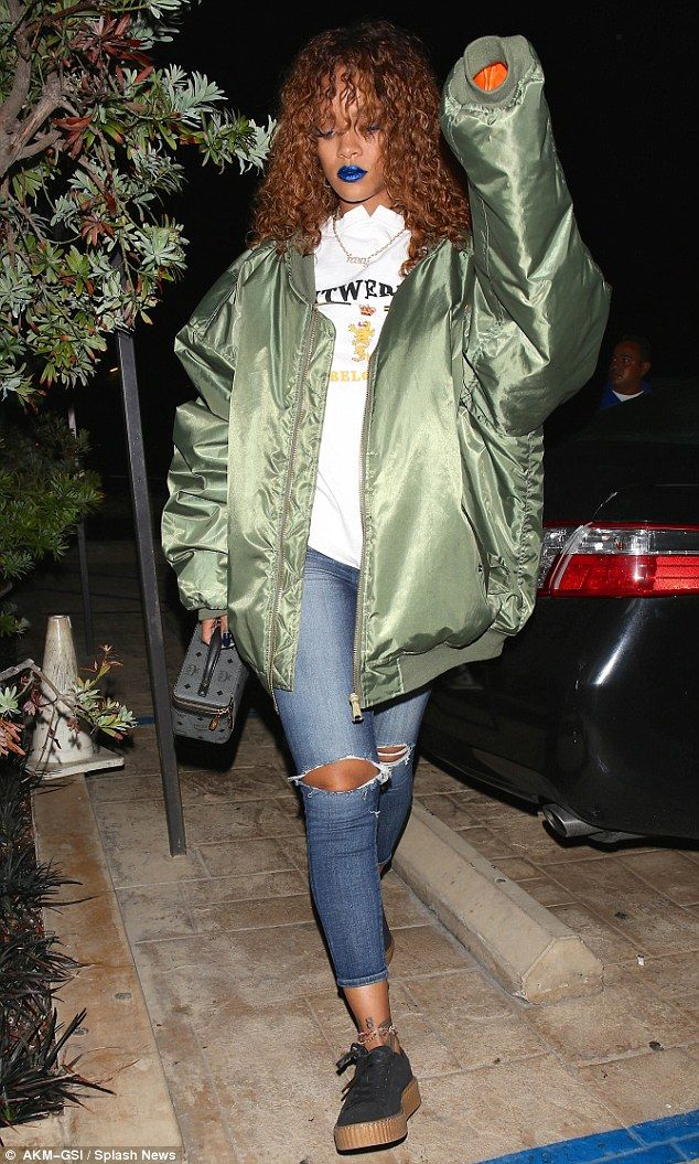 Read my lips: Rihanna once again tried out an interesting new look as she was seen heading to dinner with striking blue lips on Monday night