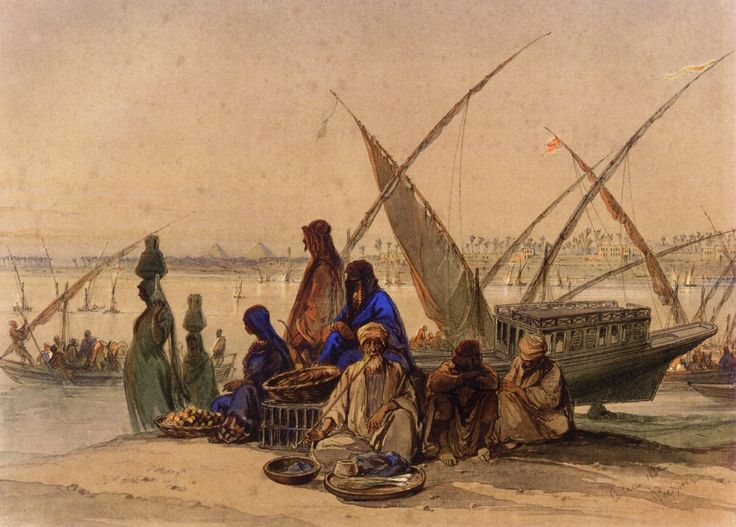 Count Amadeo Preziosi - On the Banks of the Nile, Cairo
