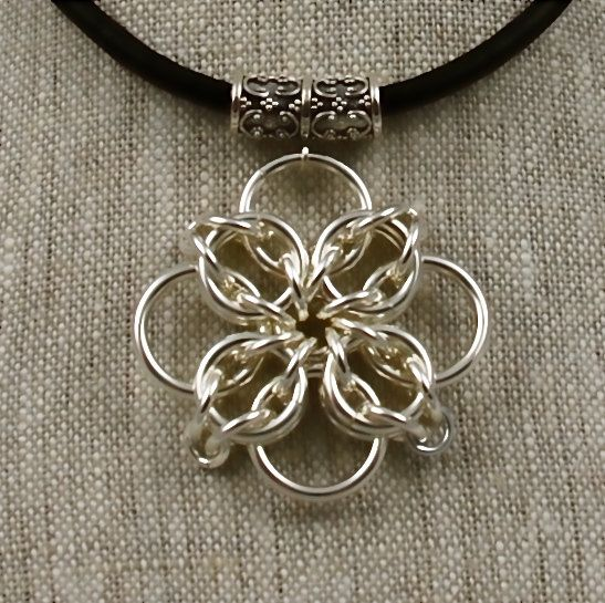 Leather Choker Celtic Cross Chain Maille by AnneGregoryJewelry