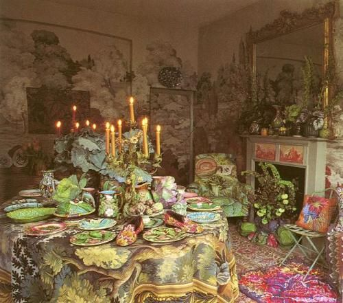 The amazing American textile designer Kaffe Fassett's dining room in his London townhouse.