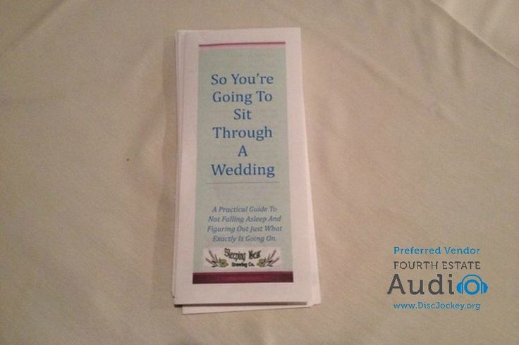 This tongue-in-cheek wedding program gave the guests a smile. http://www.discjockey.org/real-chicago-wedding-may-2-2015/
