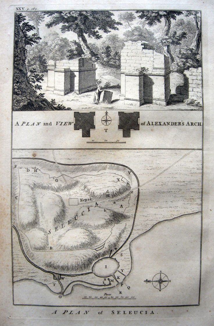 "MEDIO ORIENTE - POCOCKE R. Plan of Seleucia - Plan and view of Alexander Arch. 1745. A description of the East, and some other countries - descrizione d'Oriente del 1743. Incisione, rame, cm.29x18 piu' margini. Bella veduta e pianta con bussola. Lievissima brunitura. Rara. Studio bibliografico ""Amor di Libro"" - Pistoia Tel. e fax: 0573-26758 e-mail: mila.sermi@yahoo.it Store di eBay: http://stores.ebay.it/LA-STORIA-DI-CARTA website: www.amordilibro.com"